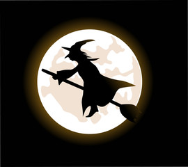 A cartoon witch flying on a broomstick