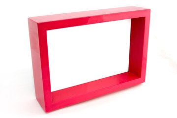 Empty pink picture frame over white