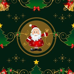Christmas green background Seamless