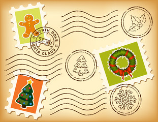Vintage Christmas stamps on old paper