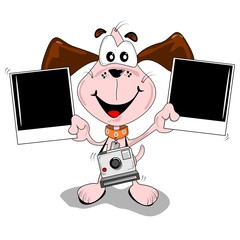 A cartoon dog with polaroid photographs and camera