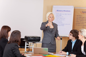 frau hält vortrag vor einer arbeitsgruppe