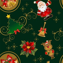 Seamless christmas card characters green background characters