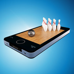 Smart phone, mobile telephone with bowling game