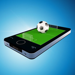 Smart phone, mobile telephone with soccer football game