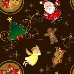 Seamless christmas card characters brown background characters