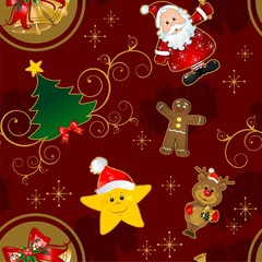 seamless christmas card characters red background characters