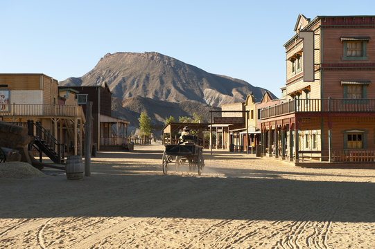 Cowboy driving a wagon at Mini Hollywood Movie Set , Spain