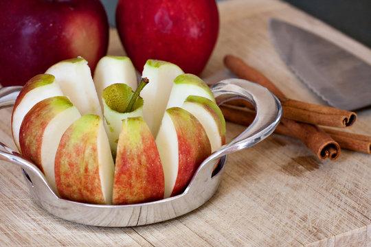Freshly Sliced Apples and Cinnamon Sticks