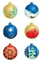 set of vector christmas decorative balls