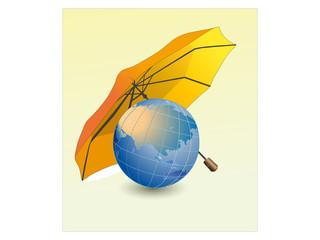 Globe with umbrella