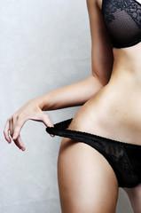Part of body of Sexy underwear model