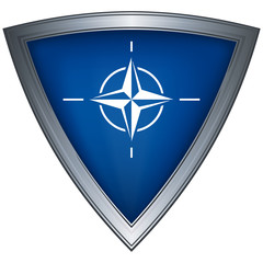 Steel shield with flag NATO