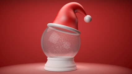 snowglobe with red hat