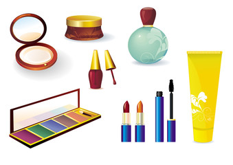 Vector set of cosmetics for sun