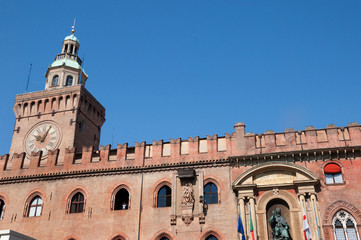 Tower of the Town Hall in Bologna Italy