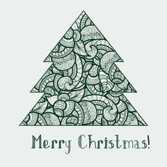 vector  ethnic doodle fir tree