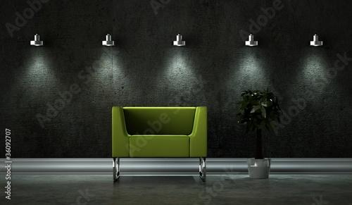 wohndesign gr ner sessel beleuchtet stockfotos und. Black Bedroom Furniture Sets. Home Design Ideas