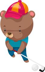bear Golfer illustration vector