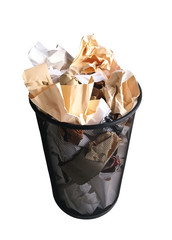 Black garbage bin with paper waste isolated on white background