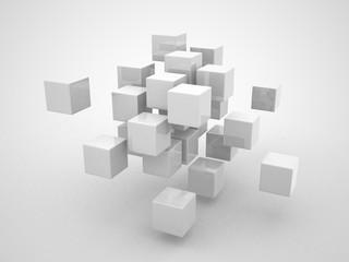 Fototapeta Abstract geometric shapes from cubes obraz