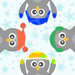 Cute Christmas Penguin Celebrating Snow winter Vector card