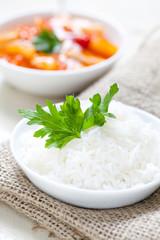 frisch gekochter Reis
