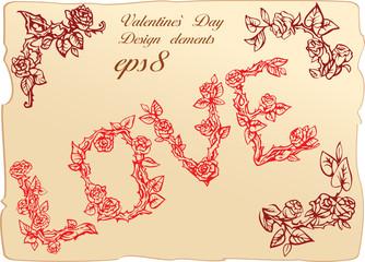 Set of vintage elements for Valentine`s Day, Love