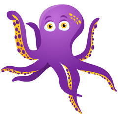 Purple Octopus Isolated on white