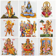 collage with hindu deities