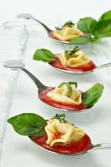 Tortellini tasting spoons appetizer