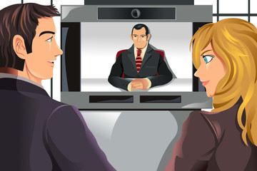 Business people video conferencing