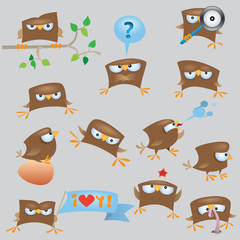 Set of cartoon funny sparrow birds