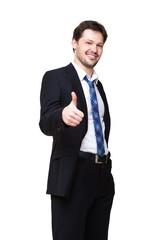 junger Mann im Anzug zeigt Top-Daumen