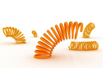 Orange springs on a white background