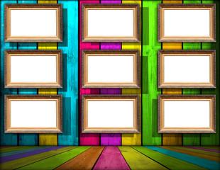 Nine Blank Frames in Multicolored Wooden Room