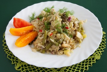 rice with vegetable and chicken meat as risotto