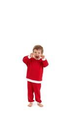 Little boy in santa costume yelling