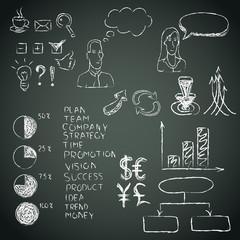 Business doodles on a blackboard. Vector.