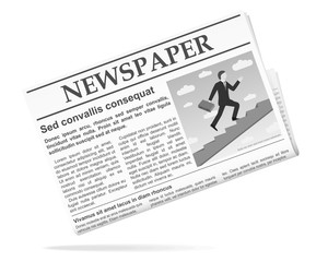 Newspaper icon with photo. Vector illustration.