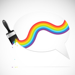 Speech bubble with rainbow brush. Vector illustration.