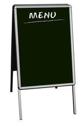 sandwich board with blank menu