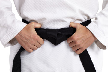 Photo sur Aluminium Combat Taekwondo, Schwarzgut, vot weiß