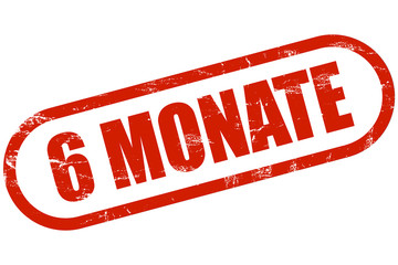 Grunge Stempel rot 6 MONATE