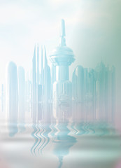A futuristic city in the mist.