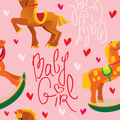 seamless pattern with toys horses - design for girls