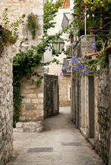 Fototapeta budva old town street, montenegro obraz