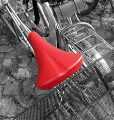 Acrylic Prints Red, black, white roter Fahrradsattel
