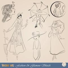 elegant vintage fashion illustrations, sketch and portraits