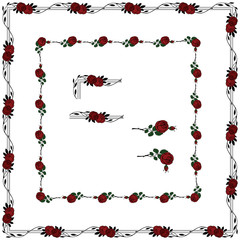 set of rose elements for creating borders and frames